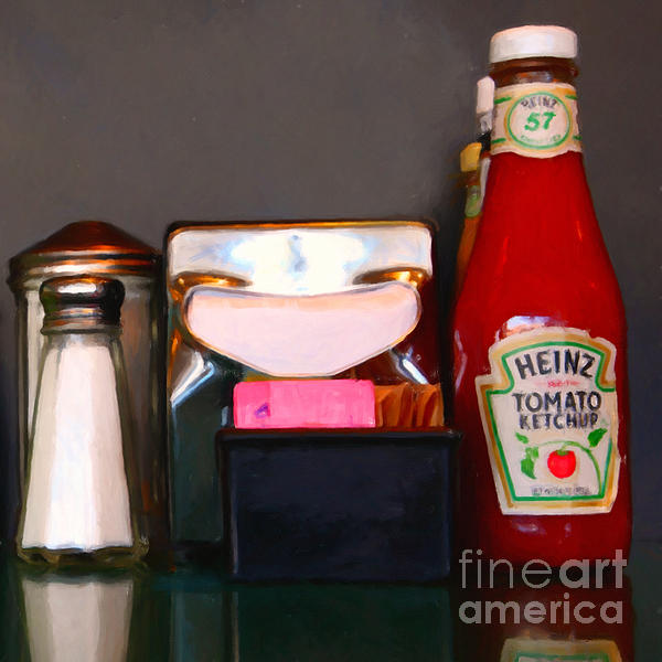 Diner Table Condiments And Other Items - 5d18035- Painterly Print by Wingsdomain Art and Photography