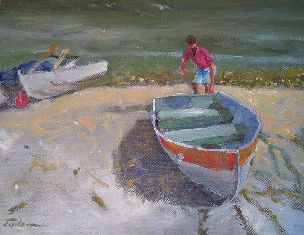 Dinghy Launch Print by Ron Wilson
