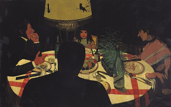 Dinner By Lamplight Print by Felix Edouard Vallotton