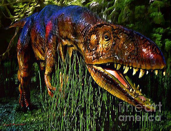 Dinosaur In Reeds Print by Jerry L Barrett