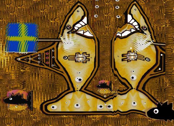 Disco Sharks Print by Pepita Selles