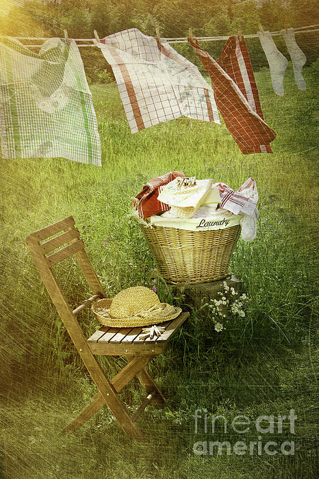 Distressed Photo Of Wash Day Print by Sandra Cunningham