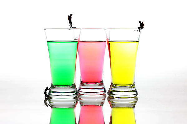 Diving In Colorful Water Print by Paul Ge