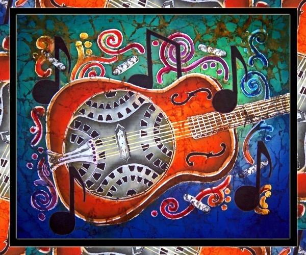Dobro - Slide Guitar-bordered Print by Sue Duda