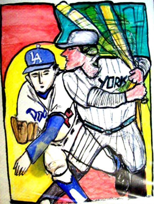 Dodgers Yankees Print by James  Christiansen