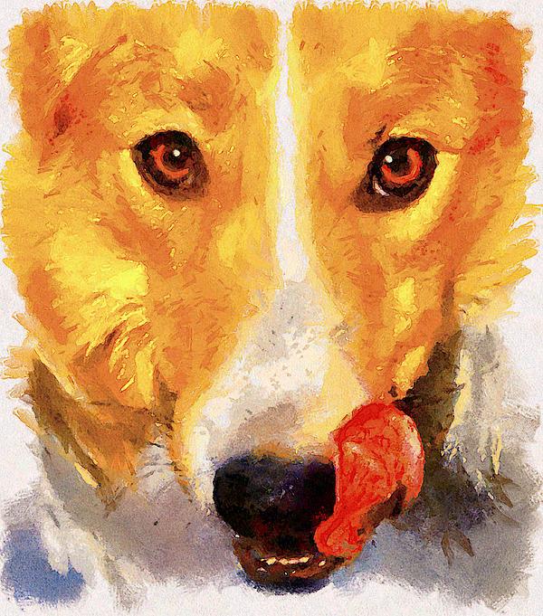 Dog Portrait Print by Yury Malkov