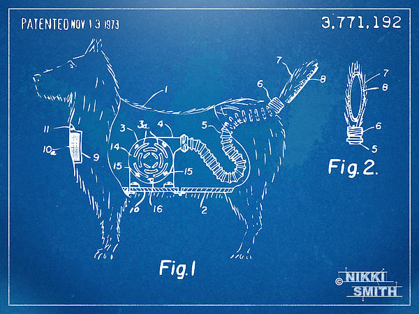 Doggie Vacuum Patent Artwork Print by Nikki Marie Smith