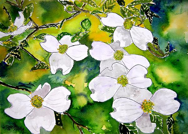 Dogwood Tree Flowers Painting  - Dogwood Tree Flowers Fine Art Print