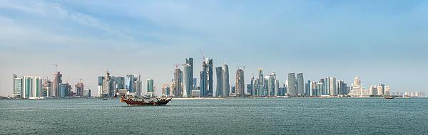 Doha Skyline Feb 2012 Print by Paul Cowan
