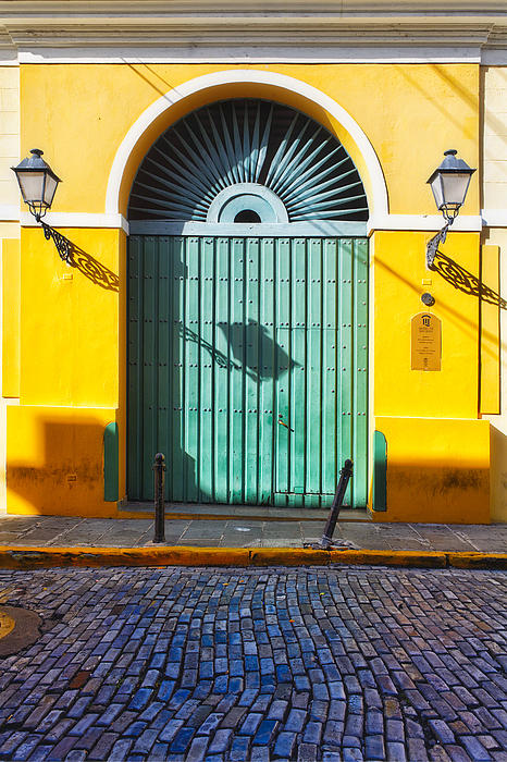 Door And Cobblestone Street In Old San Juan Print by George Oze