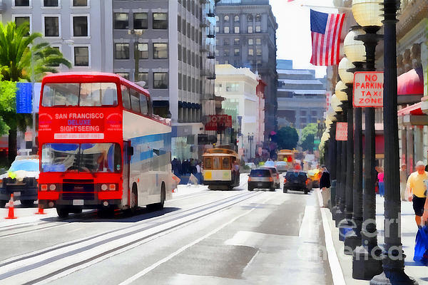 Double Decker Sightseeing Bus Along Powell Street In San Francisco California . 7d7269 Print by Wingsdomain Art and Photography