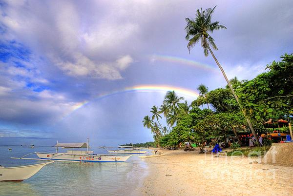 Double Rainbow At The Beach Print by Yhun Suarez
