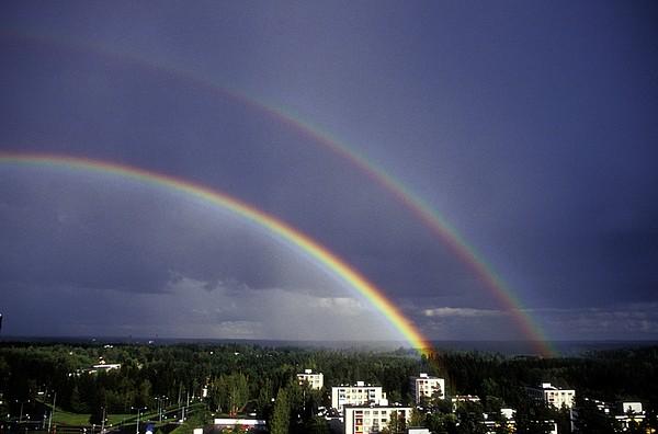 Double Rainbow Over A Town Print by Pekka Parviainen