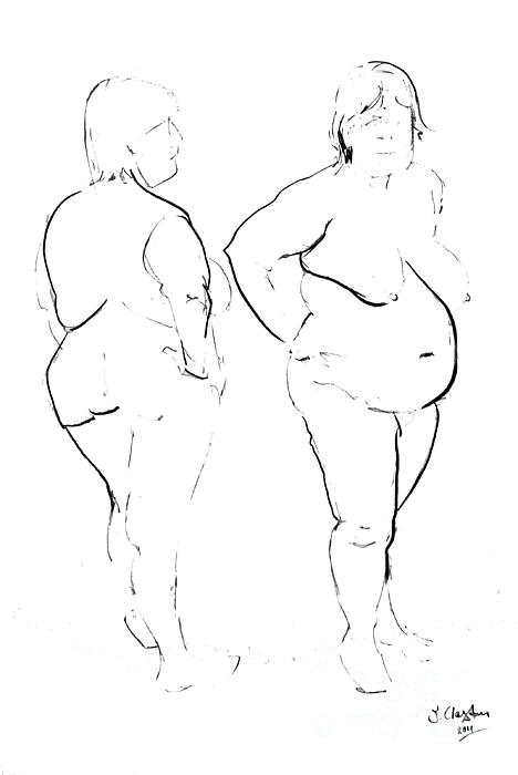 Double Standing Female Nude Print by Joanne Claxton