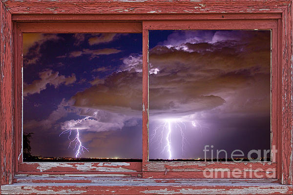 Double Trouble Lightning Picture Red Rustic Window Frame Photo A Print by James BO  Insogna