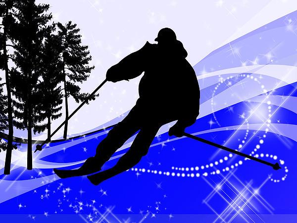 Downhill On The Ski Slope  Print by Elaine Plesser