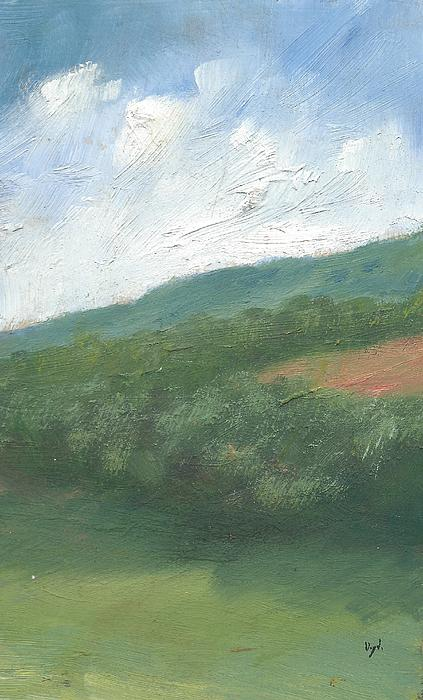 Downland And Trees Print by Alan Daysh