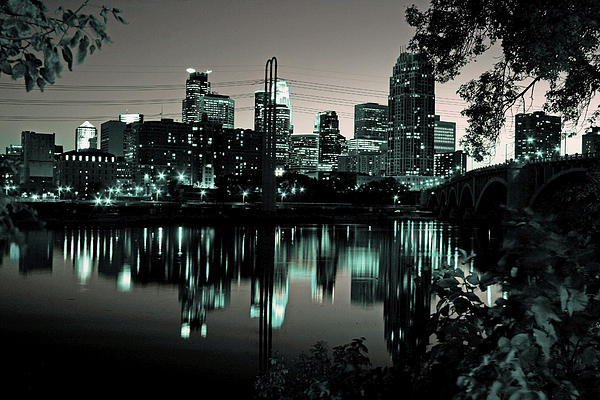 Downtown Minneapolis At Night II Print by Angie Schutt