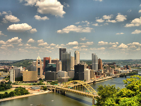 Downtown Pittsburgh Hdr Print by Arthur Herold Jr