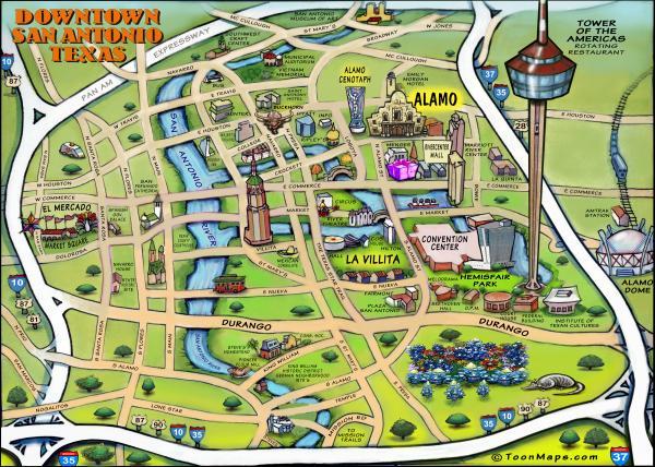 San Antonio Down Town Map