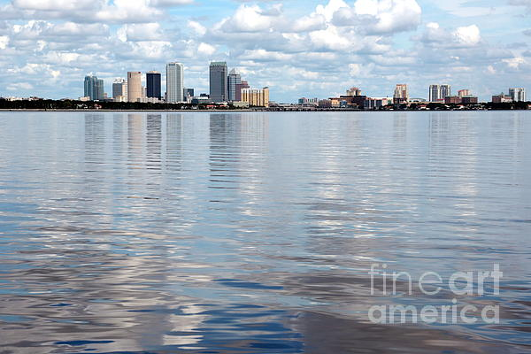 Downtown Tampa Over Hillsborough Bay Print by Carol Groenen