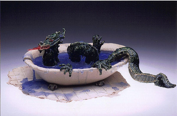 Dragon Bath Print by Doris Lindsey