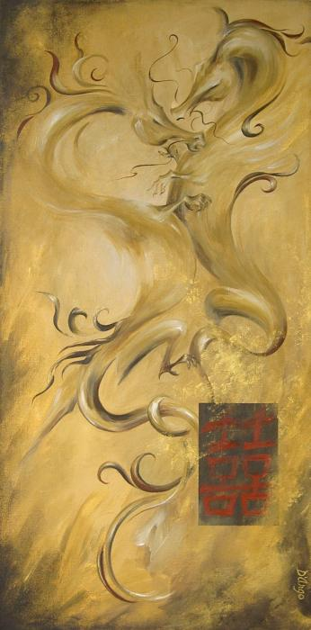 Dragon Double Happiness Painting  - Dragon Double Happiness Fine Art Print