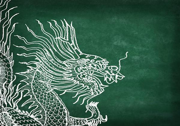 Dragon On Chalkboard Print by Setsiri Silapasuwanchai