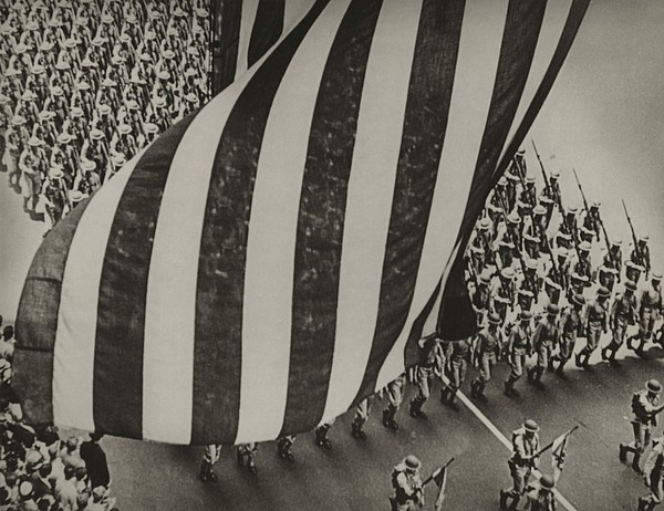 Dramatic Photo Of Us Flag And Uniformed Print by Everett