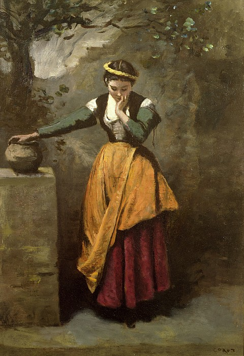 Dreamer At The Fountain Print by Jean Baptiste Camille Corot