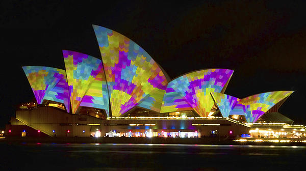 Dress Sails - Sydney Vivid Festival - Sydney Opera House Print by Bryan Freeman