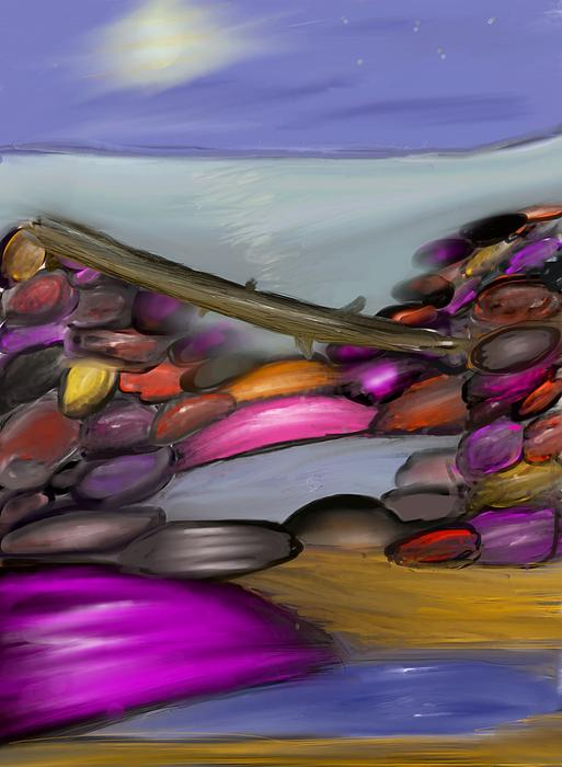 Driftwood Resting At Night Print by Paula Brown