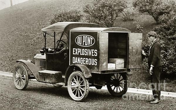 Du Pont Co. Explosives Truck Pennsylvania Coal Fields 1916 Print by Arthur Miller