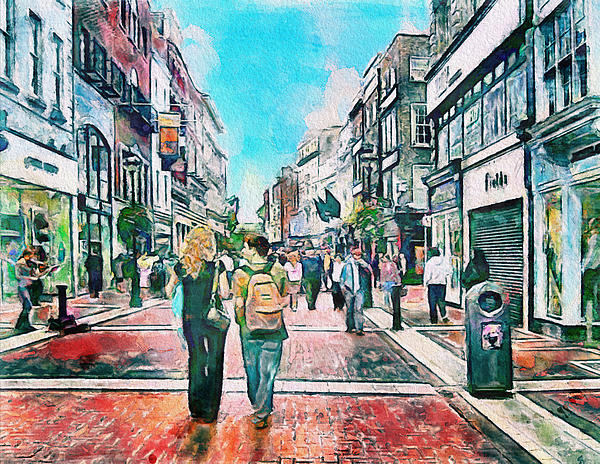 Dublin Grafton Street Print by Yury Malkov