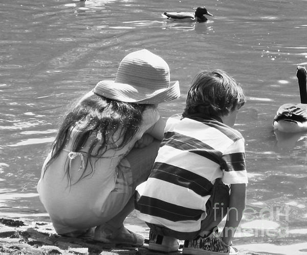 Duck Pond Siblings Print by Ann Johndro-Collins
