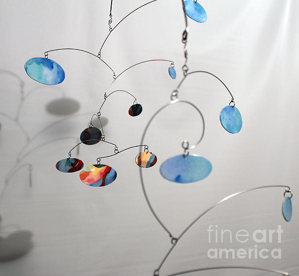 Duplicity Style Kinetic Mobile Watercolor Sculpture Print by Carolyn Weir
