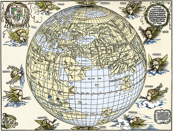 Durer's World Map, 1515 Print by Sheila Terry