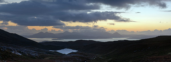 Dusk Panorama Of Skye Print by Gary Eason