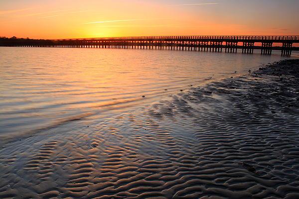 Duxbury Beach Powder Point Bridge Sunset Print by John Burk
