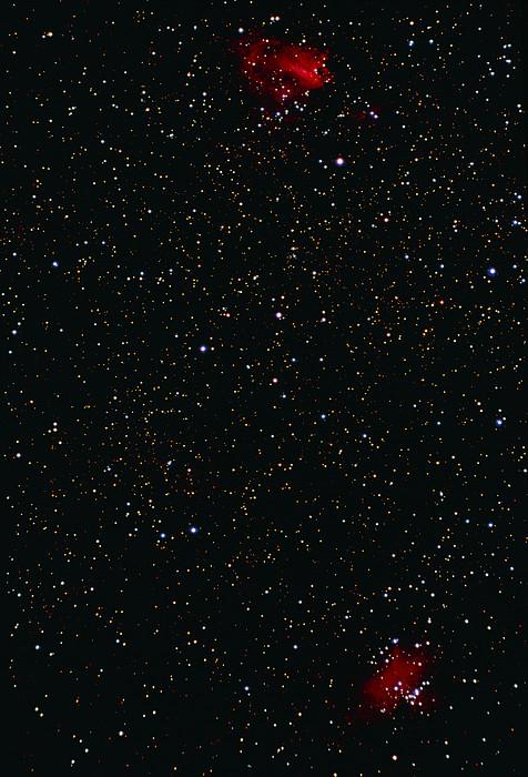 Eagle And Omega Nebulae Print by John Sanford