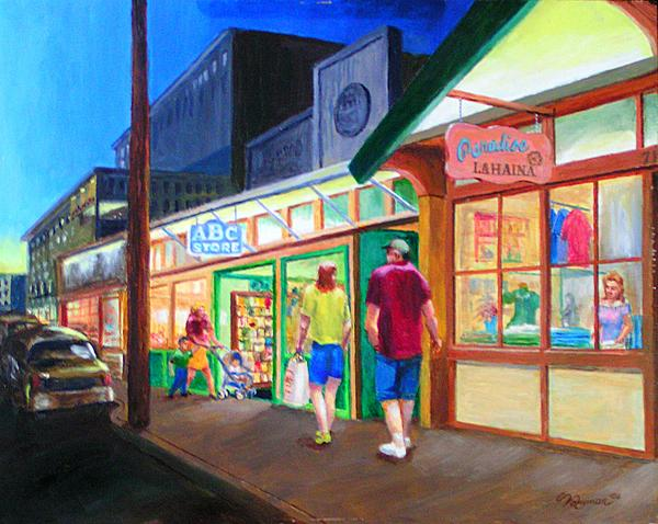 Early Evening Shoppers Painting  - Early Evening Shoppers Fine Art Print