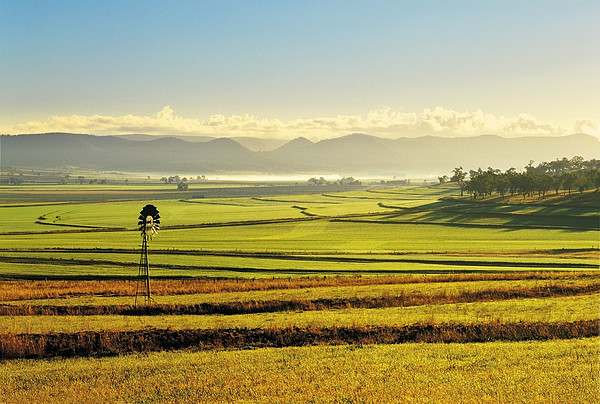 Early Morning Pastoral Scene With Keyline Plowing Near Warwick, Queensland, Australia Print by Peter Walton Photography