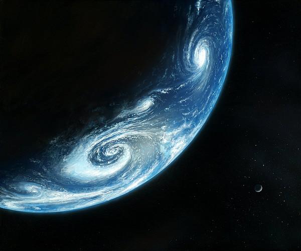Earth And Moon, Artwork Print by Richard Bizley