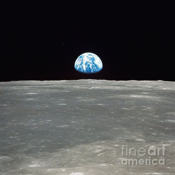 Earth And The Moon Print by Stocktrek Images