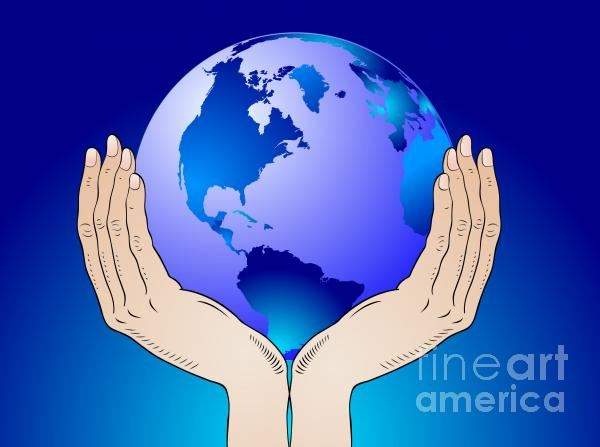 Earth In The Your Hands Print by Michal Boubin