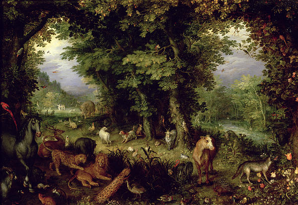 Earth Or The Earthly Paradise Print by Jan the Elder Brueghel