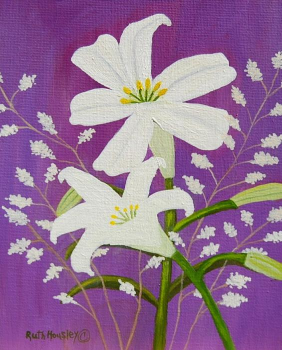 Ruth  Housley - Easter Lilies and Baby Breath  SOLD