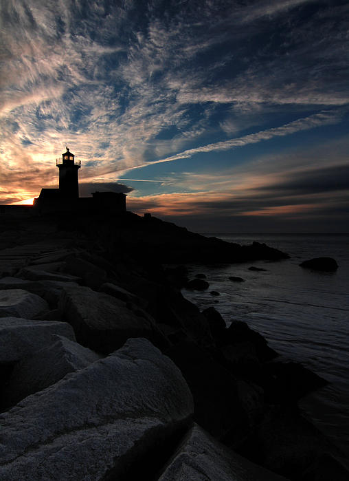 Eastern Point Lighthouse At Sunrise Print by Dave Storym