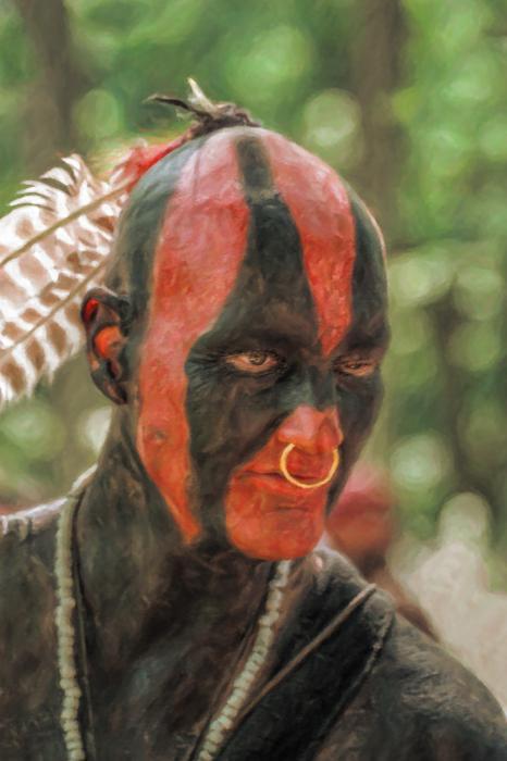 Eastern Woodland Indian Portrait Print by Randy Steele