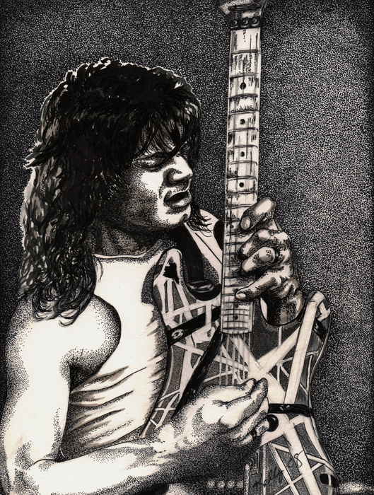 Eddie Vanhalen Print by Kathleen Kelly Thompson